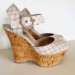 Louis Vuitton Platform Cork Wedge Peep Toe Sandals